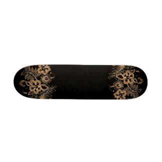 Teste padrão de flores tropical alaranjado & preto skates