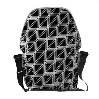 Teste padrão de grade afligido preto e branco bolsas mensageiro