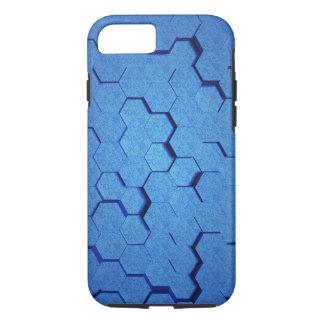 Teste padrão de grade azul sextavado capa iPhone 7