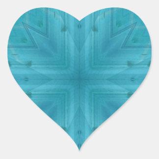 Teste padrão de madeira azul da textura adesivo em forma de coração