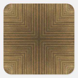 Teste padrão de madeira do caleidoscópio do adesivo em forma quadrada