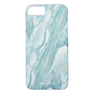 Teste padrão de mármore azul legal com seu nome capa iPhone 7
