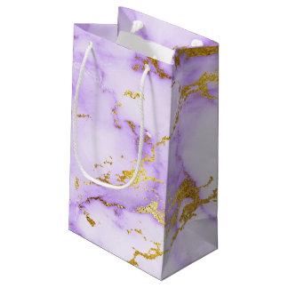 Teste padrão de mármore metálico do falso elegante sacola para presentes pequena