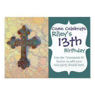 Teste padrão de mosaico transversal cristão legal convite 12.7 x 17.78cm