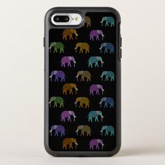 Teste padrão de néon do elefante capa para iPhone 7 plus OtterBox symmetry