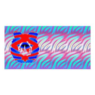 Teste padrão de onda de brilho de RednBlue n do Cartão Com Foto