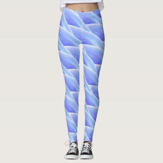 Teste padrão de onda encaracolado azul abstrato #3 leggings
