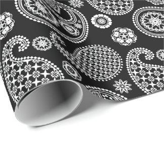 Teste padrão de Paisley, preto e branco Papel De Presente