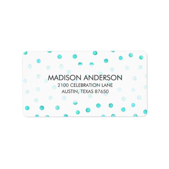 Teste padrão de pontos branco azul dos confetes da etiqueta de endereço