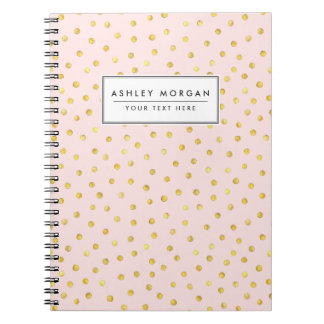 Teste padrão de pontos elegante dos confetes da caderno espiral