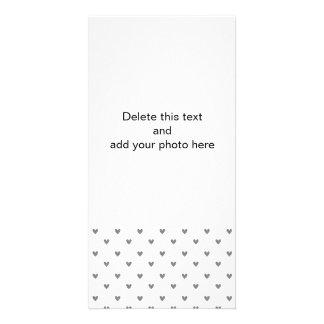 Teste padrão de prata dos corações do brilho cartão com foto