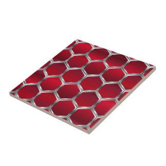 Teste padrão de prata vermelho & metálico dos azulejo quadrado pequeno