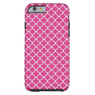 Teste padrão de Quatrefoil do rosa quente Capa Tough Para iPhone 6