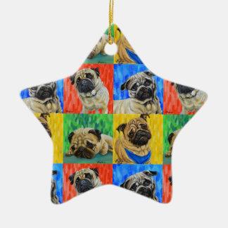 Teste padrão de repetição preliminar do Pug Ornamento De Cerâmica