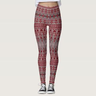 Teste padrão decorativo vermelho leggings