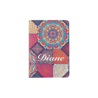Teste padrão desigual colorido do ornamento floral capa para passaporte