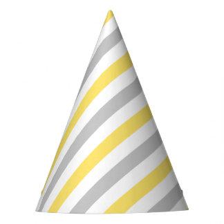Teste padrão diagonal cinzento e amarelo das chapéu de festa