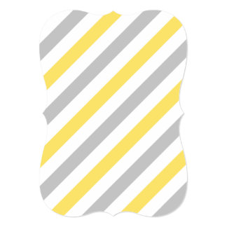 Teste padrão diagonal cinzento e amarelo das convite 12.7 x 17.78cm