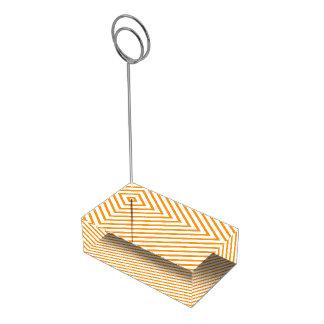 Teste padrão diagonal da laranja da listra suportes para cartoes de mesas