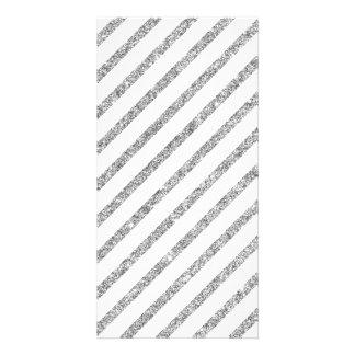 Teste padrão diagonal das listras do brilho de cartão com foto