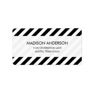 Teste padrão diagonal preto e branco das listras etiqueta de endereço