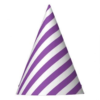 Teste padrão diagonal roxo e branco das listras chapéu de festa
