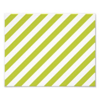 Teste padrão diagonal verde e branco das listras impressão de foto