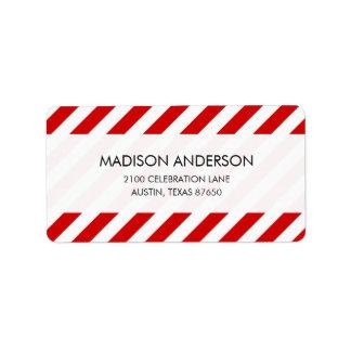 Teste padrão diagonal vermelho e branco das etiqueta de endereço