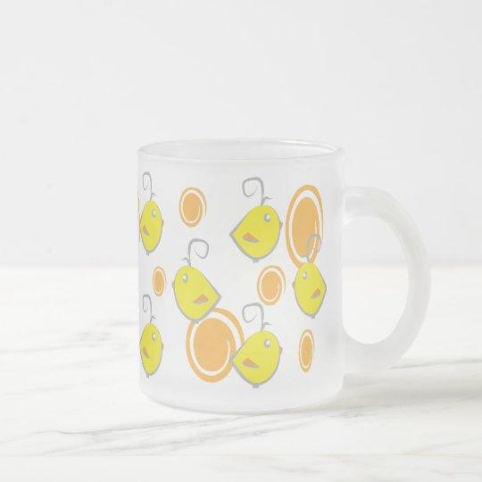 teste padrão do amarelo do pássaro de bebê caneca de café vidro jateado