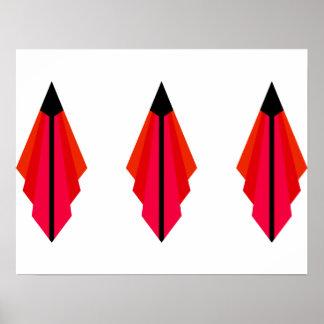 Teste padrão do art deco nos vermelhos pôster