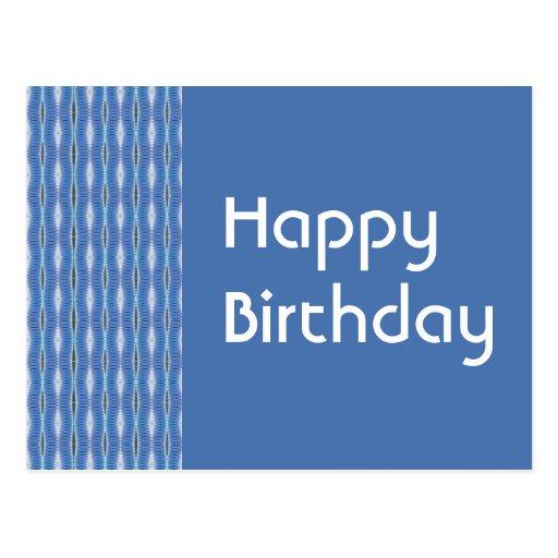 Teste padrão do azul do feliz aniversario cartão postal