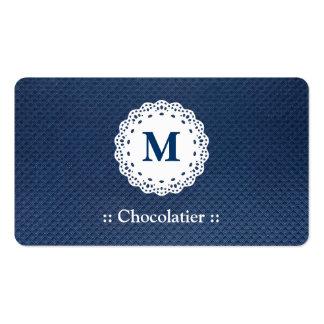 Teste padrão do azul do monograma do laço de Choco Cartões De Visita