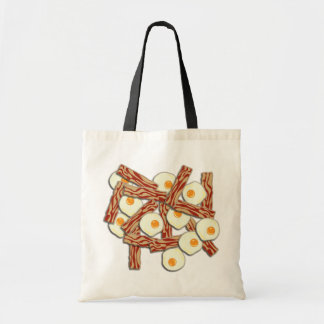 Teste padrão do bacon e dos ovos bolsas para compras