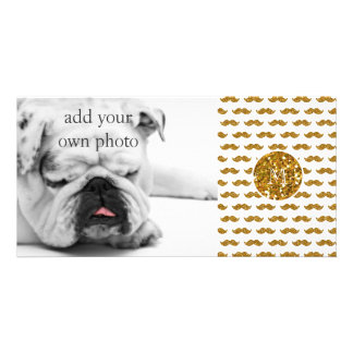 Teste padrão do bigode do brilho do ouro seu monog cartão com foto