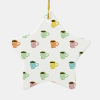 Teste padrão do café ornamento de cerâmica