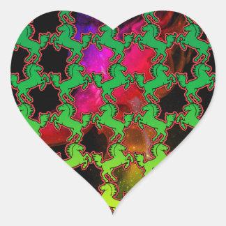 Teste padrão do cavalo adesivo coração