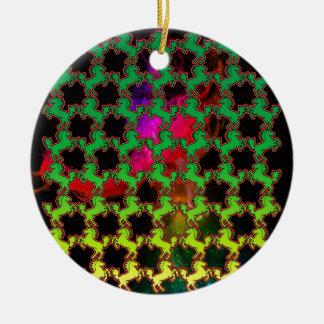 Teste padrão do cavalo ornamento de cerâmica redondo