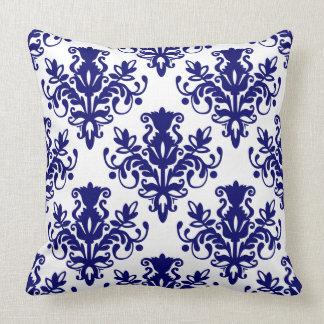 Teste padrão do damasco 02 - azul marinho profundo travesseiros de decoração