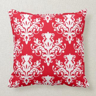 Teste padrão do damasco 02 - branco no vermelho travesseiros