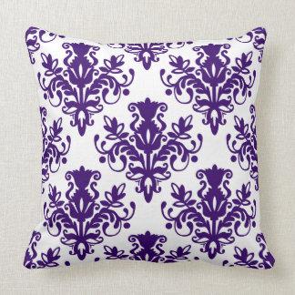 Teste padrão do damasco 02 - profundamente - roxo travesseiros de decoração