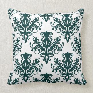 Teste padrão do damasco 02 - verde de musgo escuro travesseiros de decoração