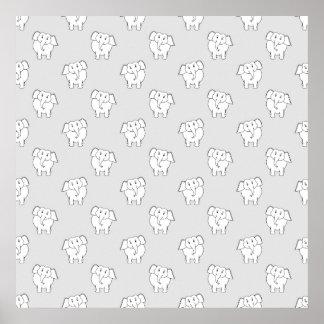 Teste padrão do elefante branco no cinza poster