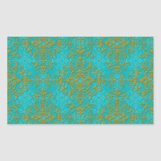 Teste padrão do estilo do damasco do ouro e da adesivo retangular