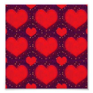 Teste padrão do estilo do Grunge dos corações da Impressão De Foto