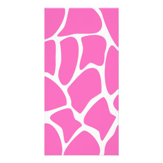 Teste padrão do impressão do girafa no rosa brilha cartão com foto
