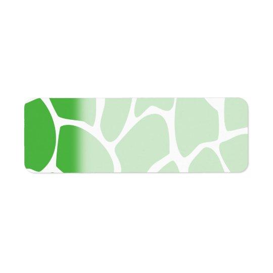 Teste padrão do impressão do girafa no verde da etiqueta endereço de retorno