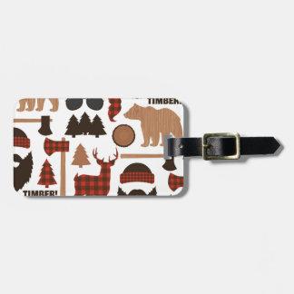 Teste padrão do lenhador etiqueta de bagagem