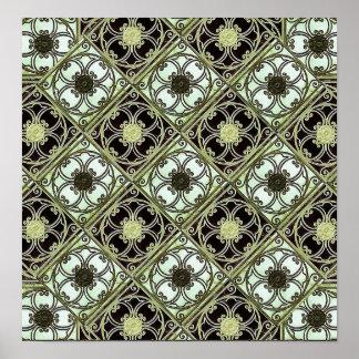 Teste padrão do ornamento do estilo antigo pôsteres