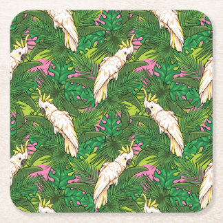 Teste padrão do papagaio com folhas de palmeira porta-copo de papel quadrado