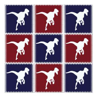 Teste padrão do quadrado do dinossauro do vermelho convite quadrado 13.35 x 13.35cm